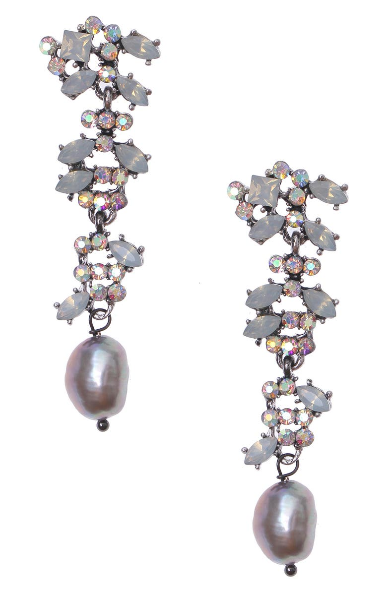 NAKAMOL CHICAGO Crystal & Genuine Pearl Drop Earrings, Main, color, SILVER PEARL MIX
