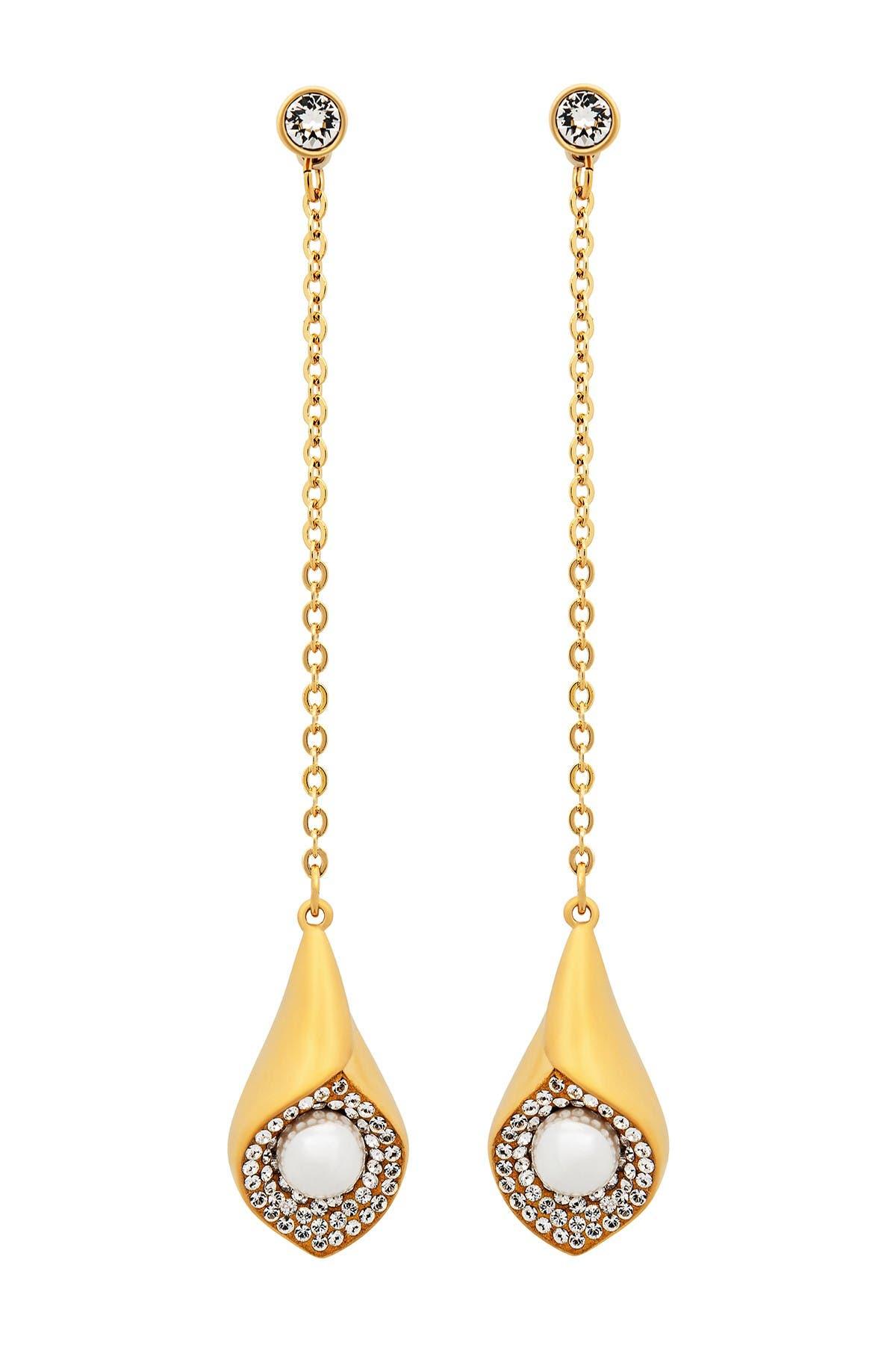 Image of Swarovski Crystal & Imitation Pearl Modest Drop Earrings