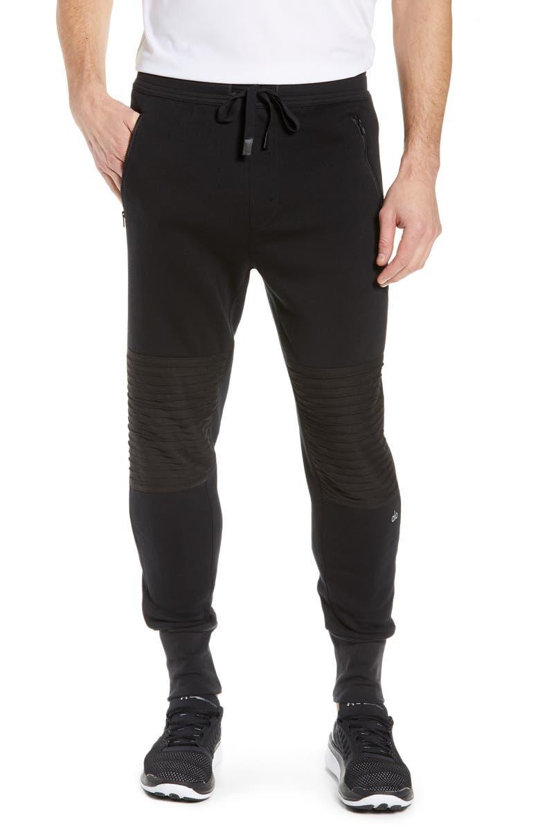 ALO Moto Slim Fit Jogger Pants, Main, color, SOLID BLACK