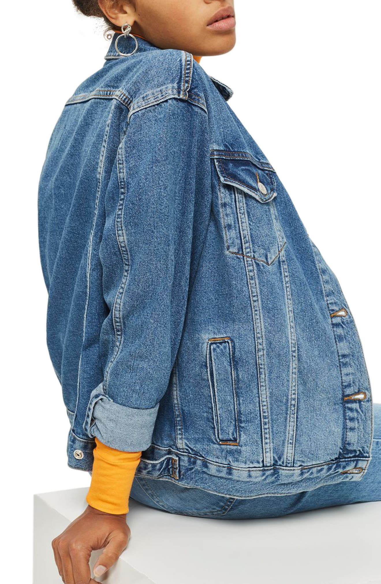 ,                             Oversize Denim Jacket,                             Alternate thumbnail 2, color,                             MID STONE