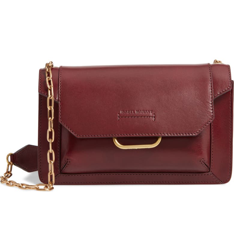 ISABEL MARANT Skamy Leather Crossbody Bag, Main, color, BURGUNDY