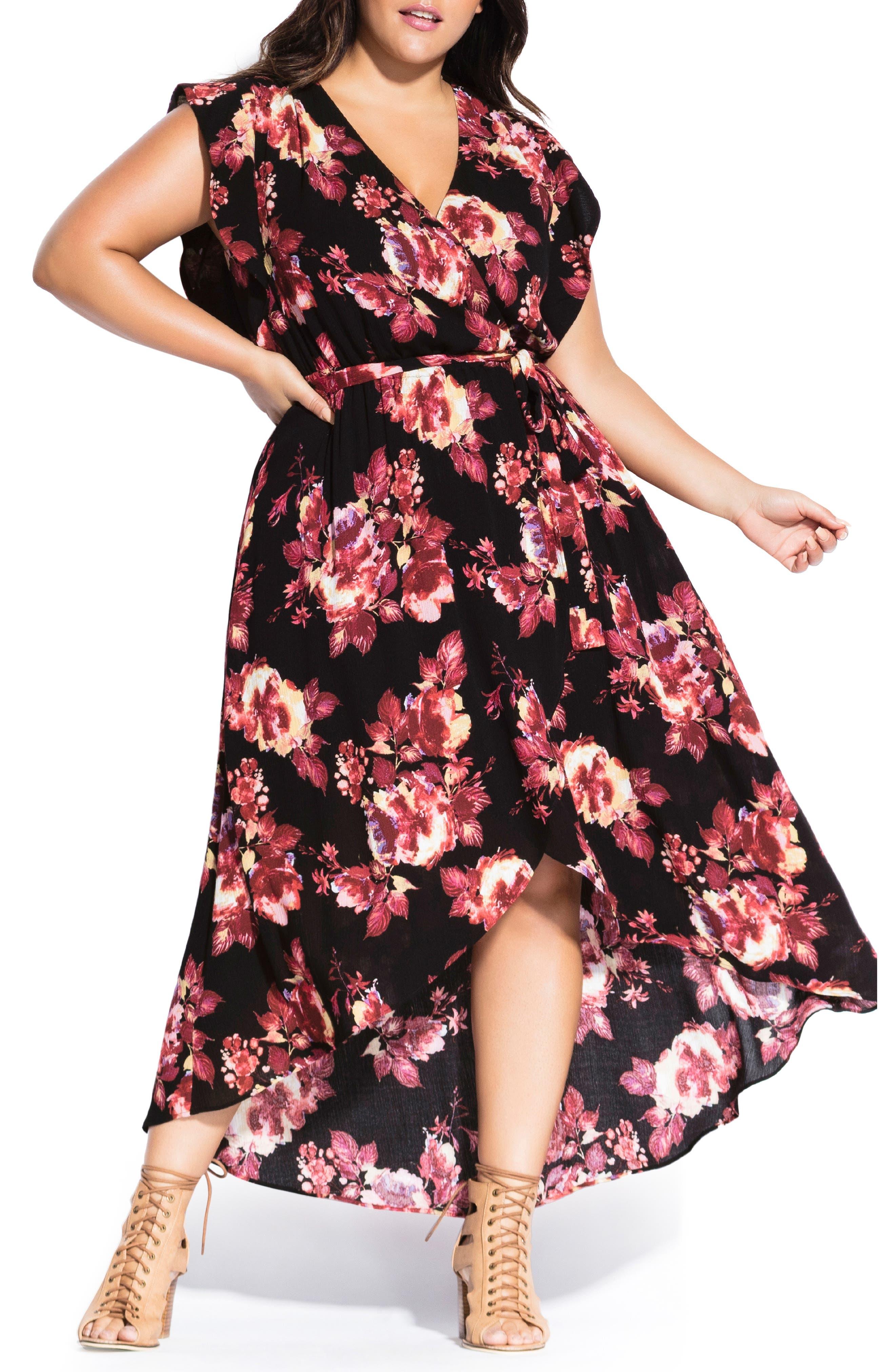 Plus Size City Chic Monet Rose Faux Wrap Maxi Dress, Black