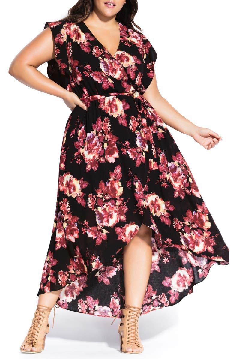 CITY CHIC Monet Rose Faux Wrap Maxi Dress, Main, color, MONET ROSE