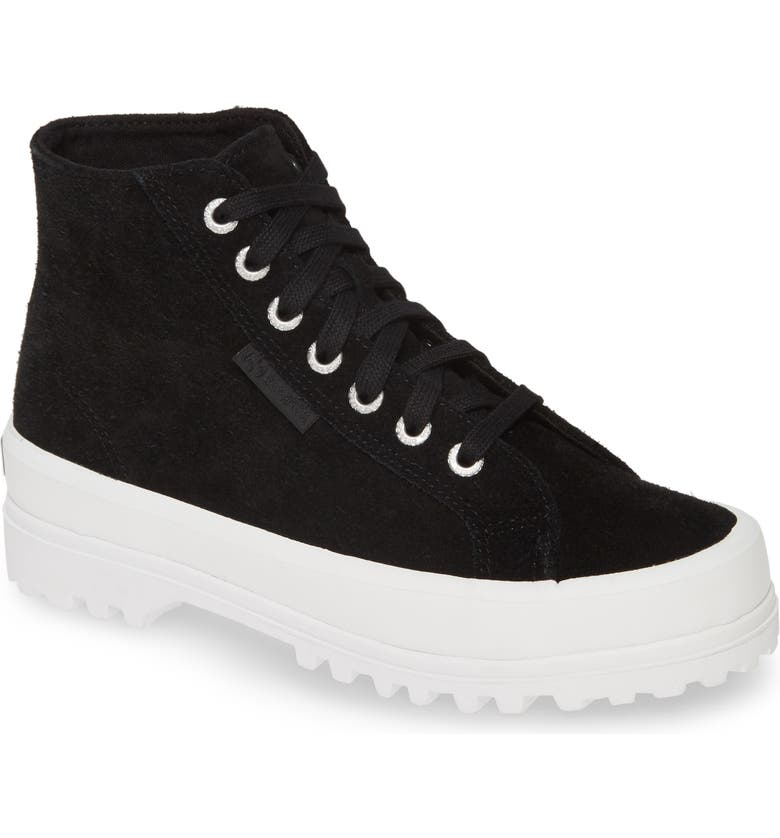 SUPERGA 2341 Sue High Top Platform Sneaker, Main, color, BLACK / WHITE