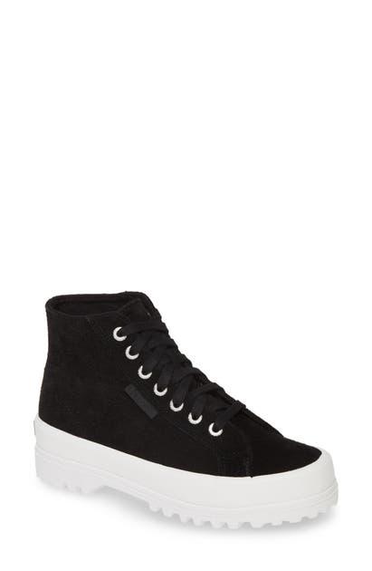 Superga 2341 Sue High Top Platform Sneaker In Black / White