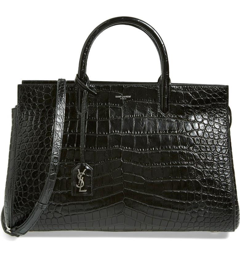 097a689b3 'Medium Cabas Rive Gauche' Croc Embossed Leather Satchel, Main, color, ...