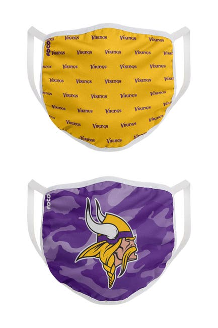 Image of FOCO NFL Minnesota Vikings Clutch Printed Face Cover - Pack of 2