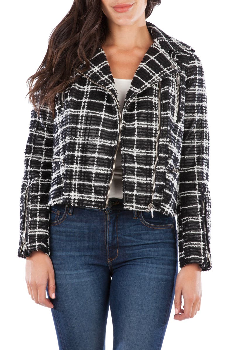 KUT FROM THE KLOTH Eveline Textured Check Faux Leather Moto Jacket, Main, color, BLACK