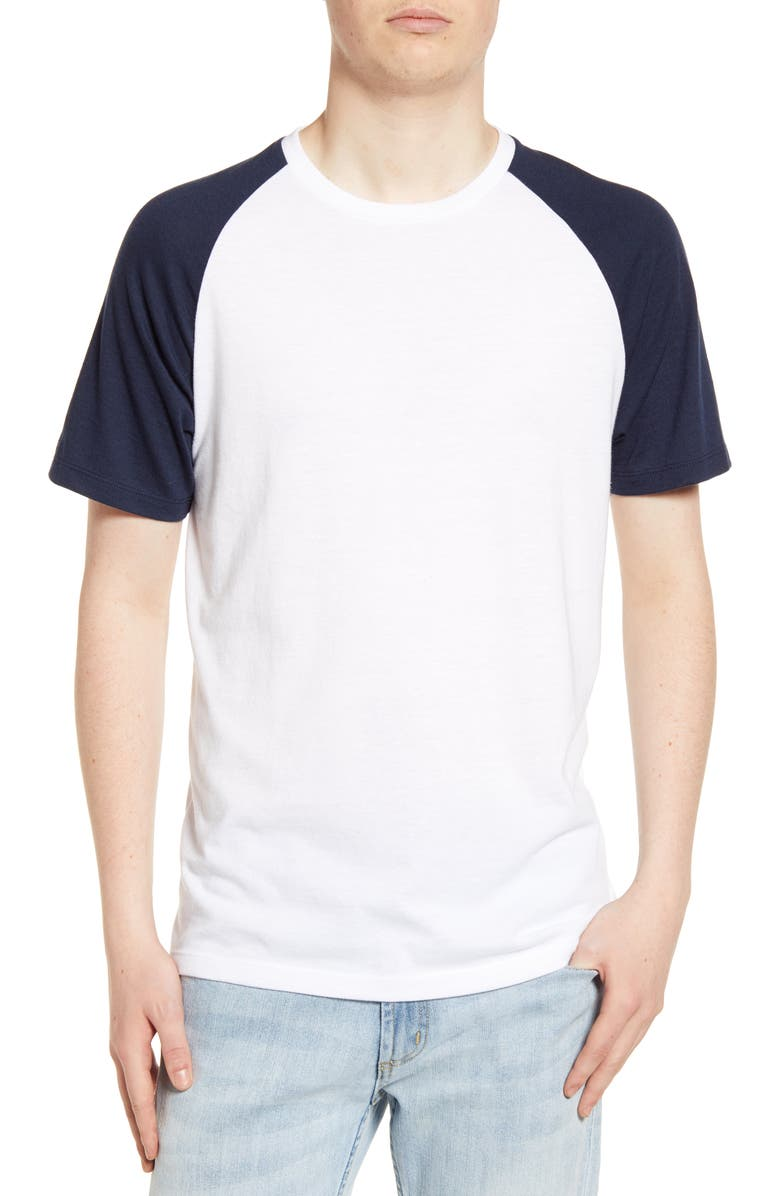 THE RAIL Short Sleeve Baseball T-Shirt, Main, color, WHITE-NAVY BLAZER