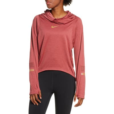 Nike Glam Midlayer Funnel Neck Hoodie, Red