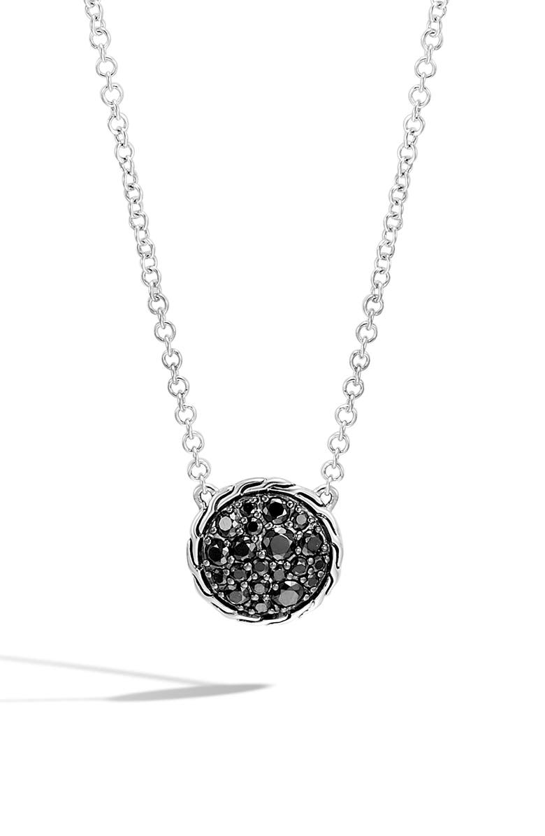 JOHN HARDY Chain Classic Pavé Pendant Necklace, Main, color, SILVER/ BLACK SAPPHIRE