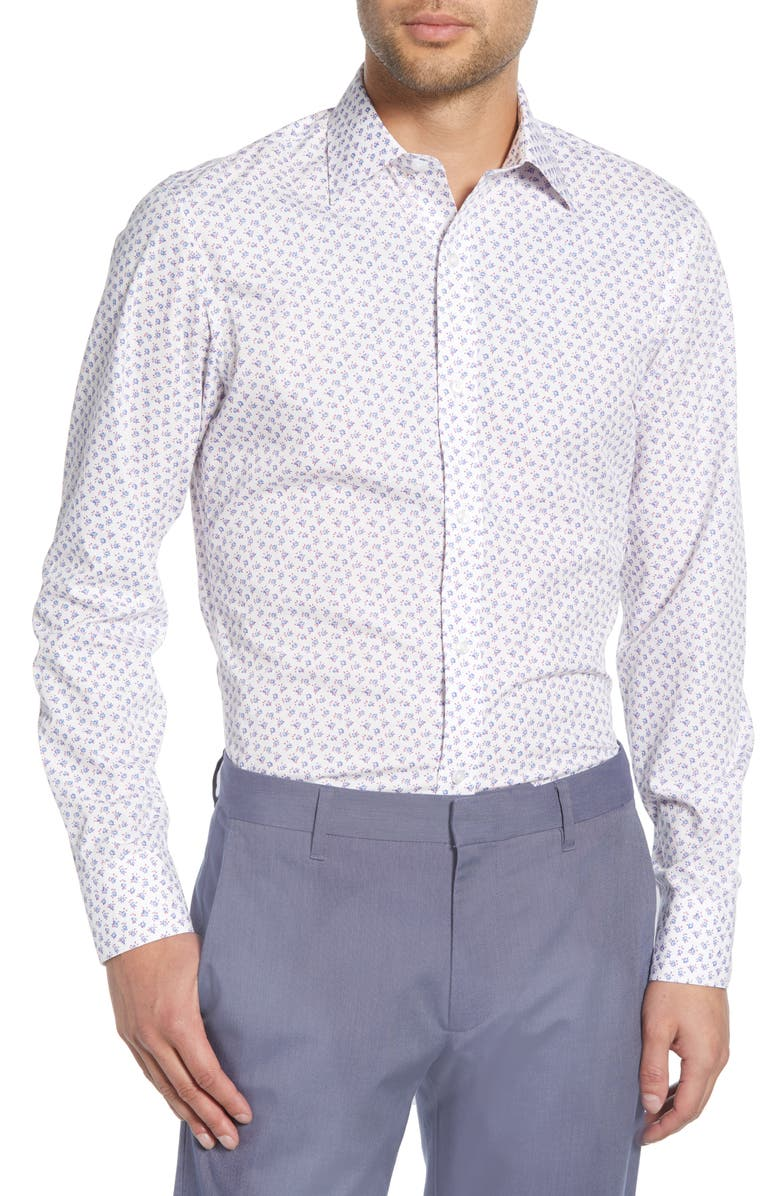 BONOBOS Slim Fit Floral Dress Shirt, Main, color, WHITE