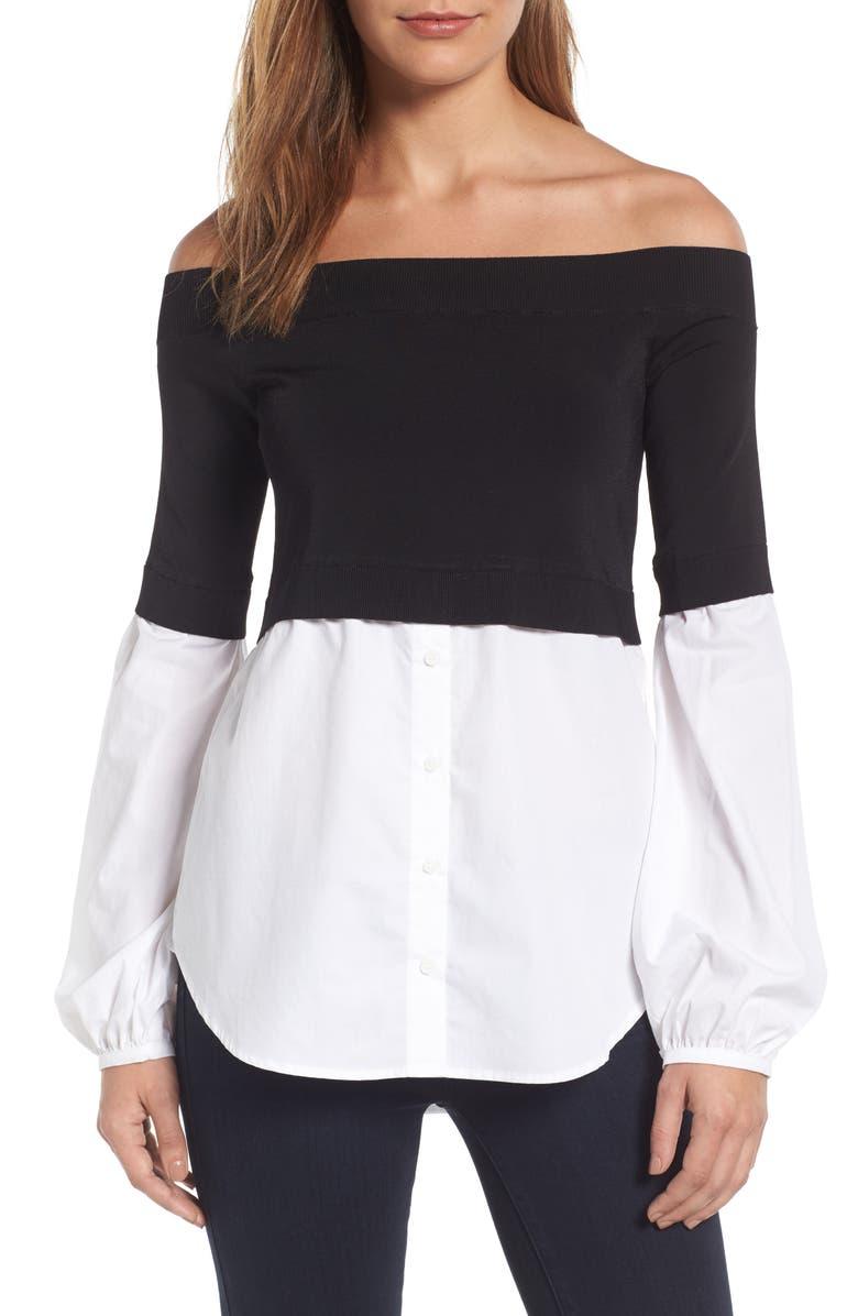 TROUVÉ Off the Shoulder Poplin Sweater, Main, color, 001