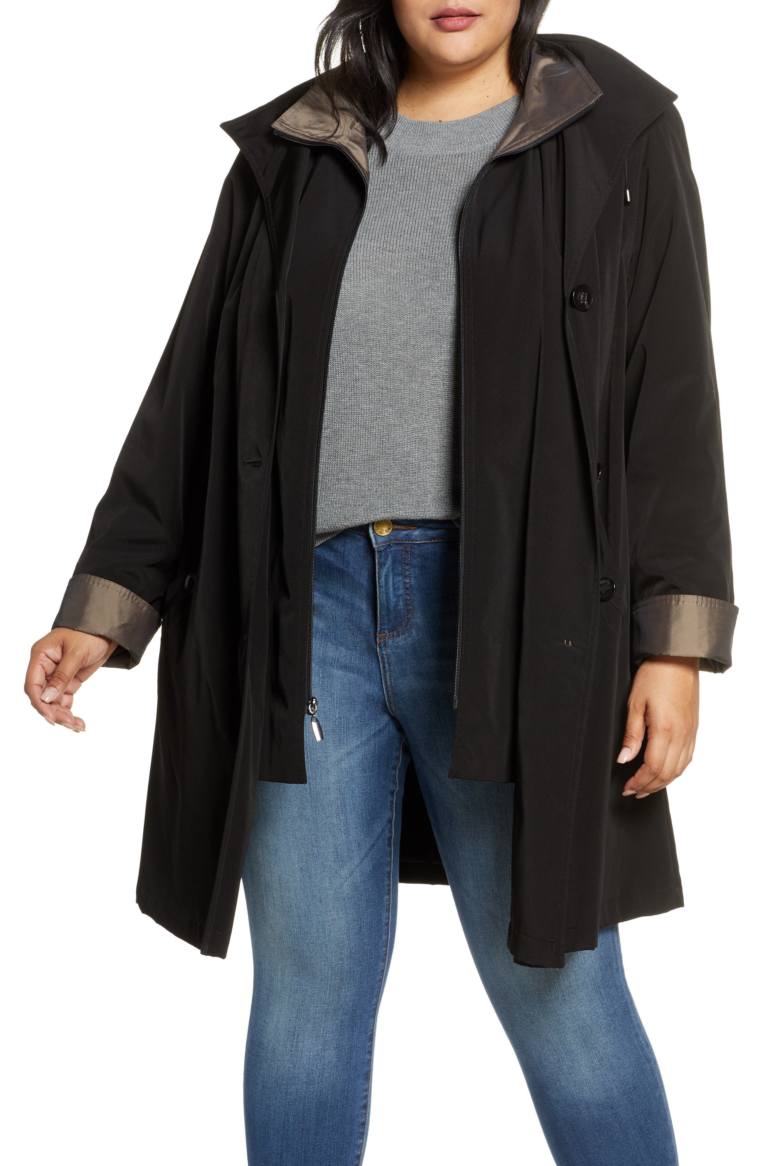 Hooded Raincoat With Liner