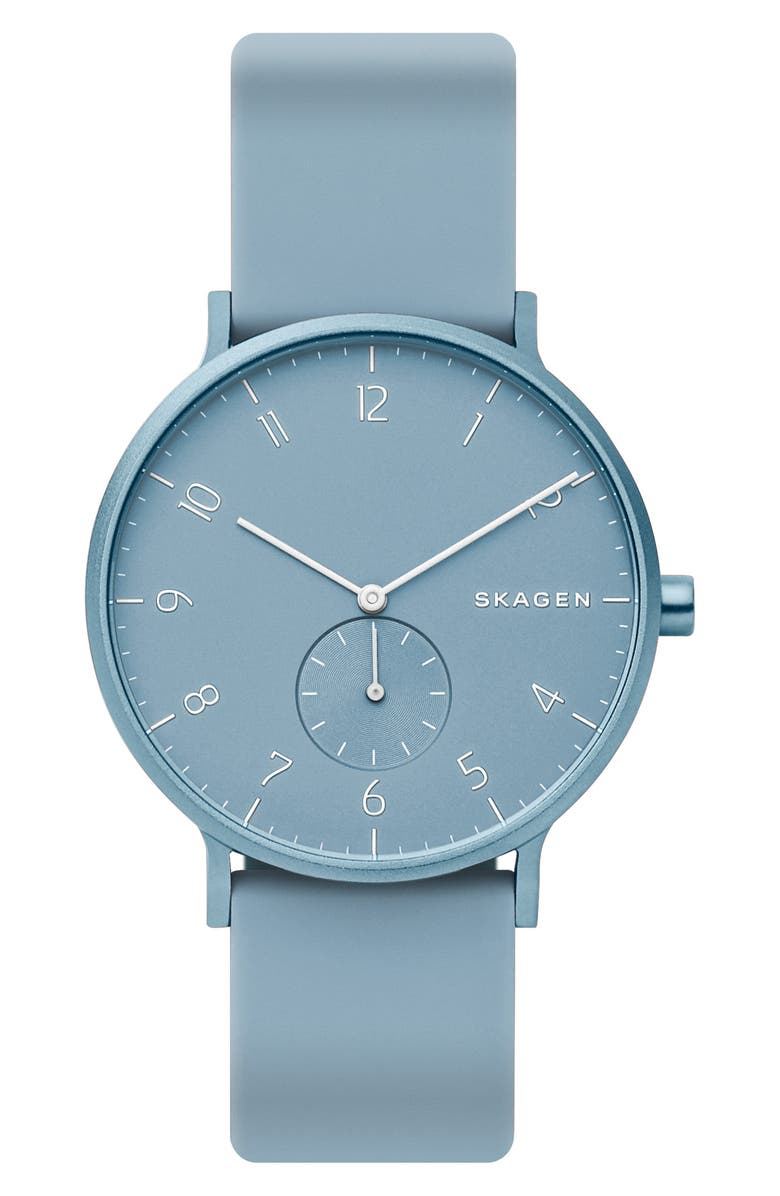 SKAGEN Aaren Kulør Rubber Strap Watch, 41mm, Main, color, LIGHT BLUE