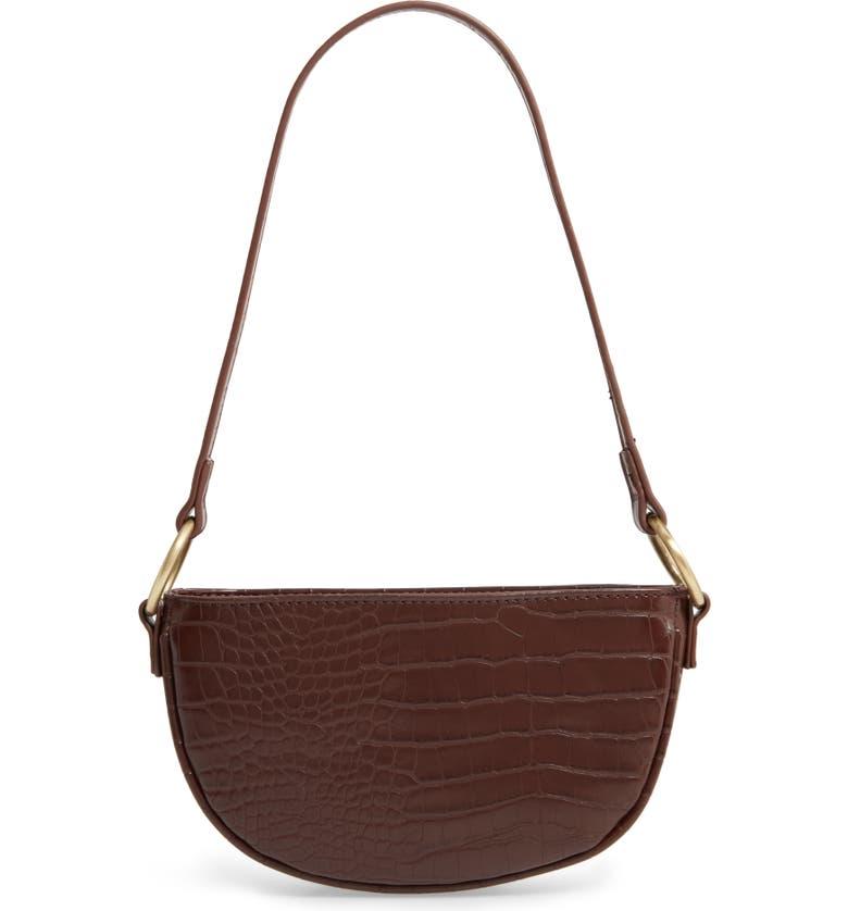 BP. Embossed Faux Leather Shoulder Bag, Main, color, BURGUNDY FUDGE