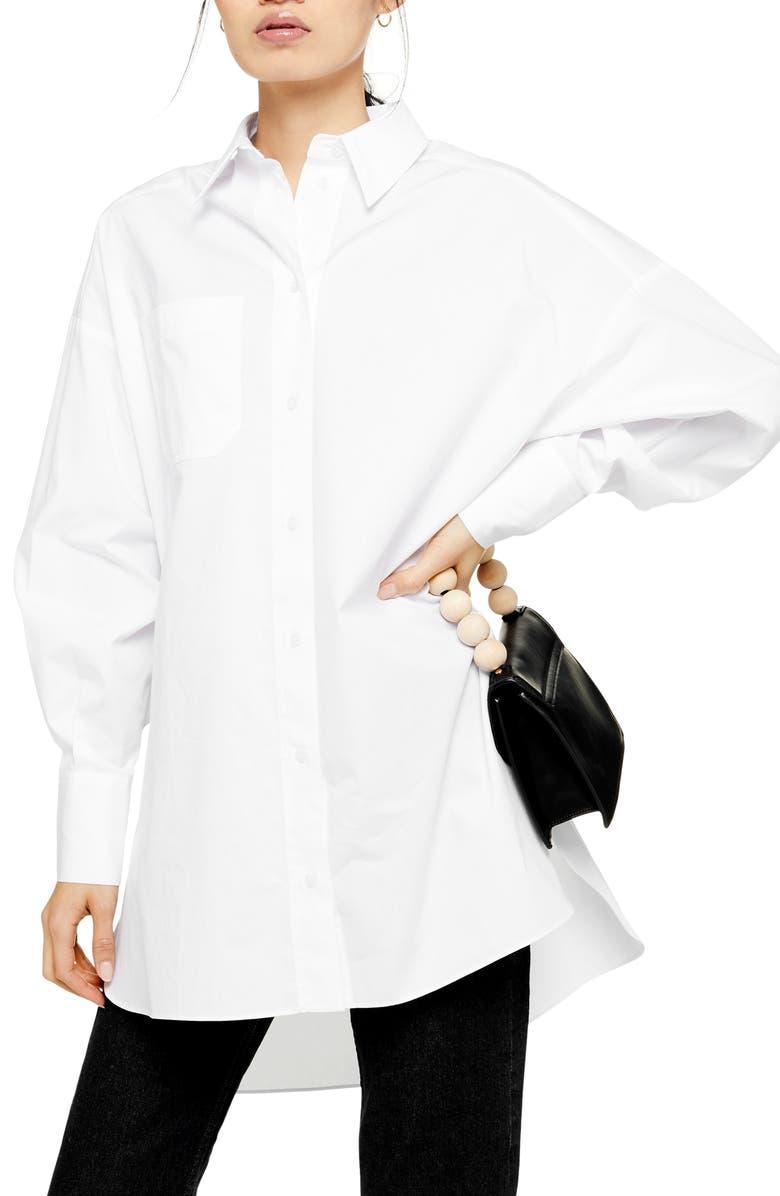 TOPSHOP Oversize Poplin Shirt, Main, color, WHITE