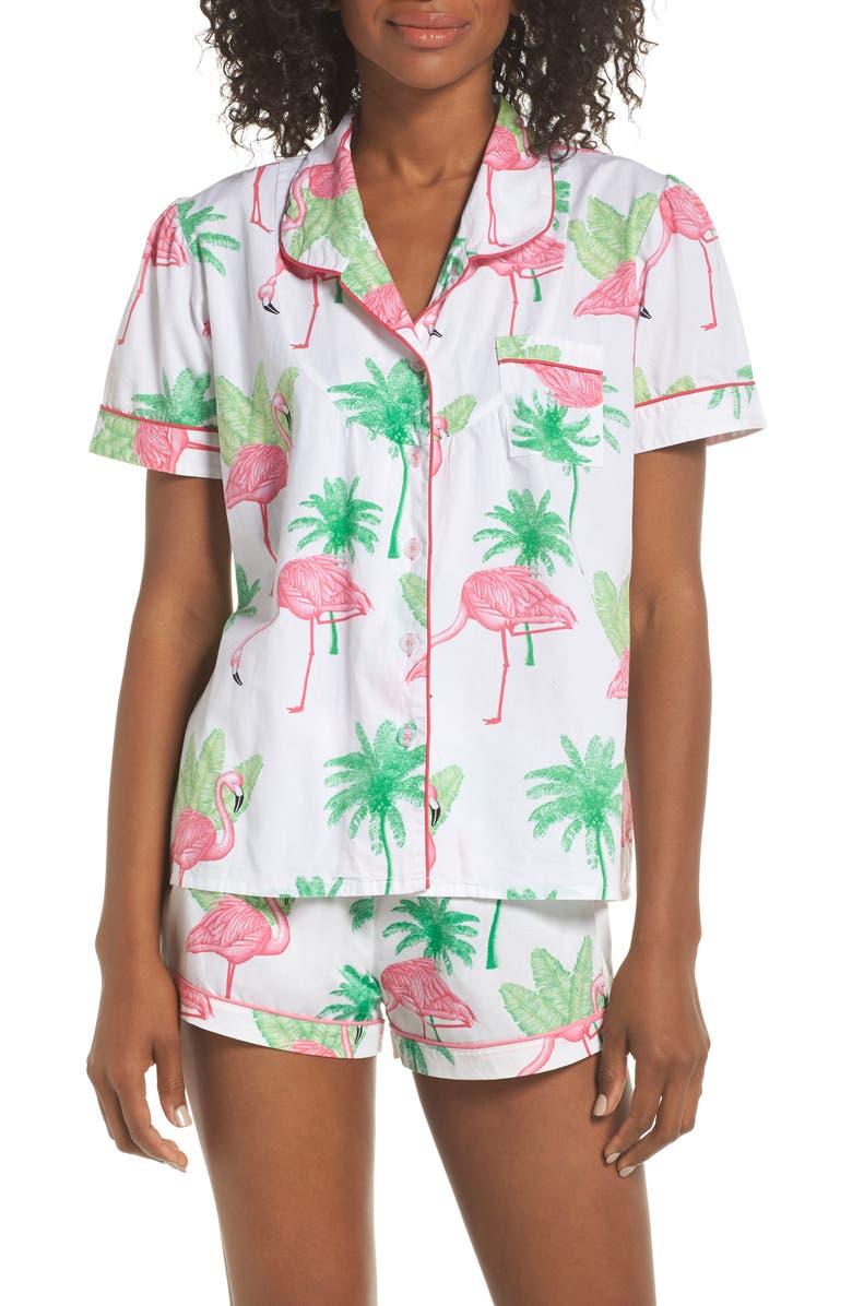 SANT AND ABEL Flamingo Short Pajamas, Main, color, 670