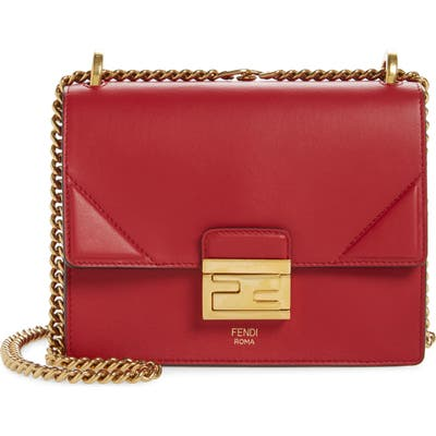 Fendi Kan I Leather Shoulder Bag - Red