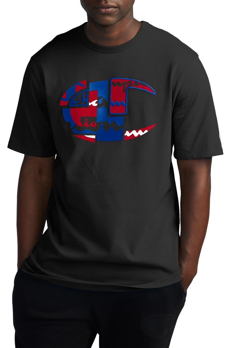 CHAMPION Patchwork Heritage Logo Graphic T-Shirt, Main, color, BLACK