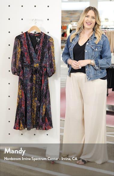Stripe Paisley Chiffon Faux Wrap Dress, sales video thumbnail