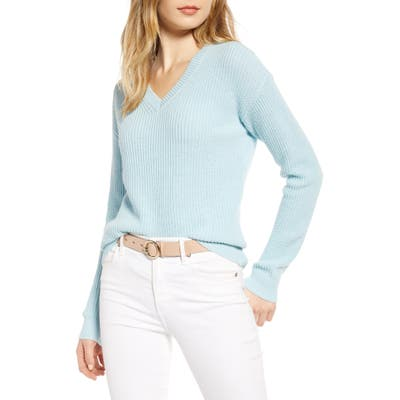 1901 Cotton & Wool Blend Shaker Sweater, Blue