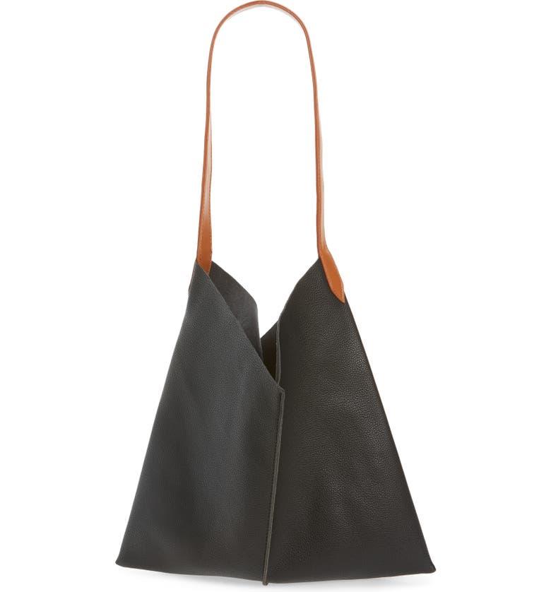 BP. Center Seam Faux Leather Tote, Main, color, BLACK