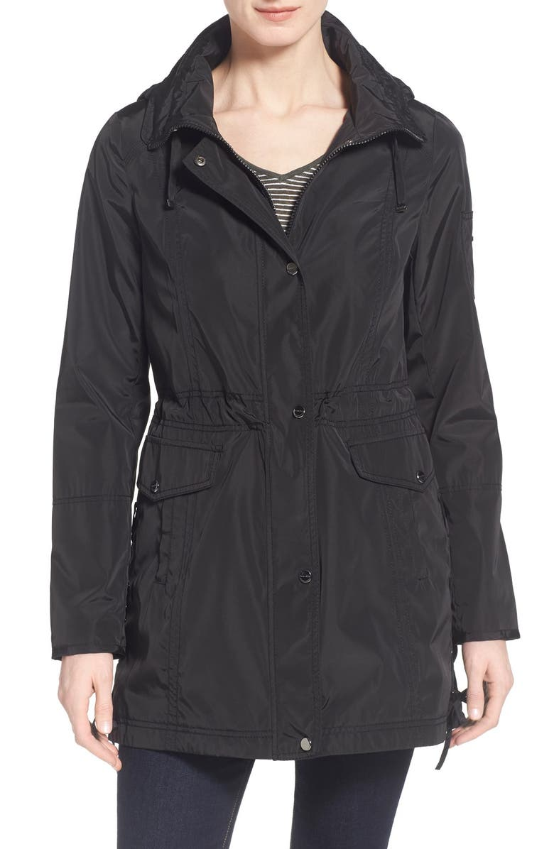 LAUNDRY BY SHELLI SEGAL Windbreaker with Lace-Up Sides, Main, color, 001