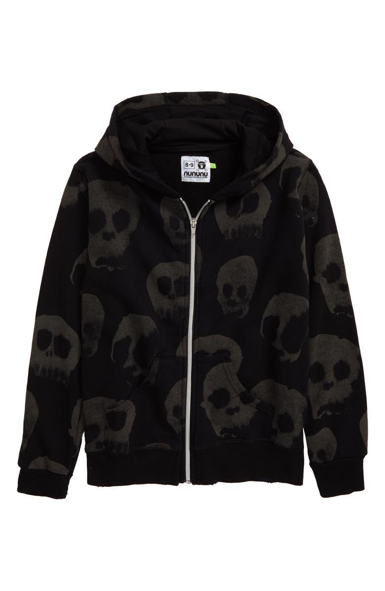 NUNUNU Water Skull Front Zip Hooded Sweatshirt, Main, color, 001
