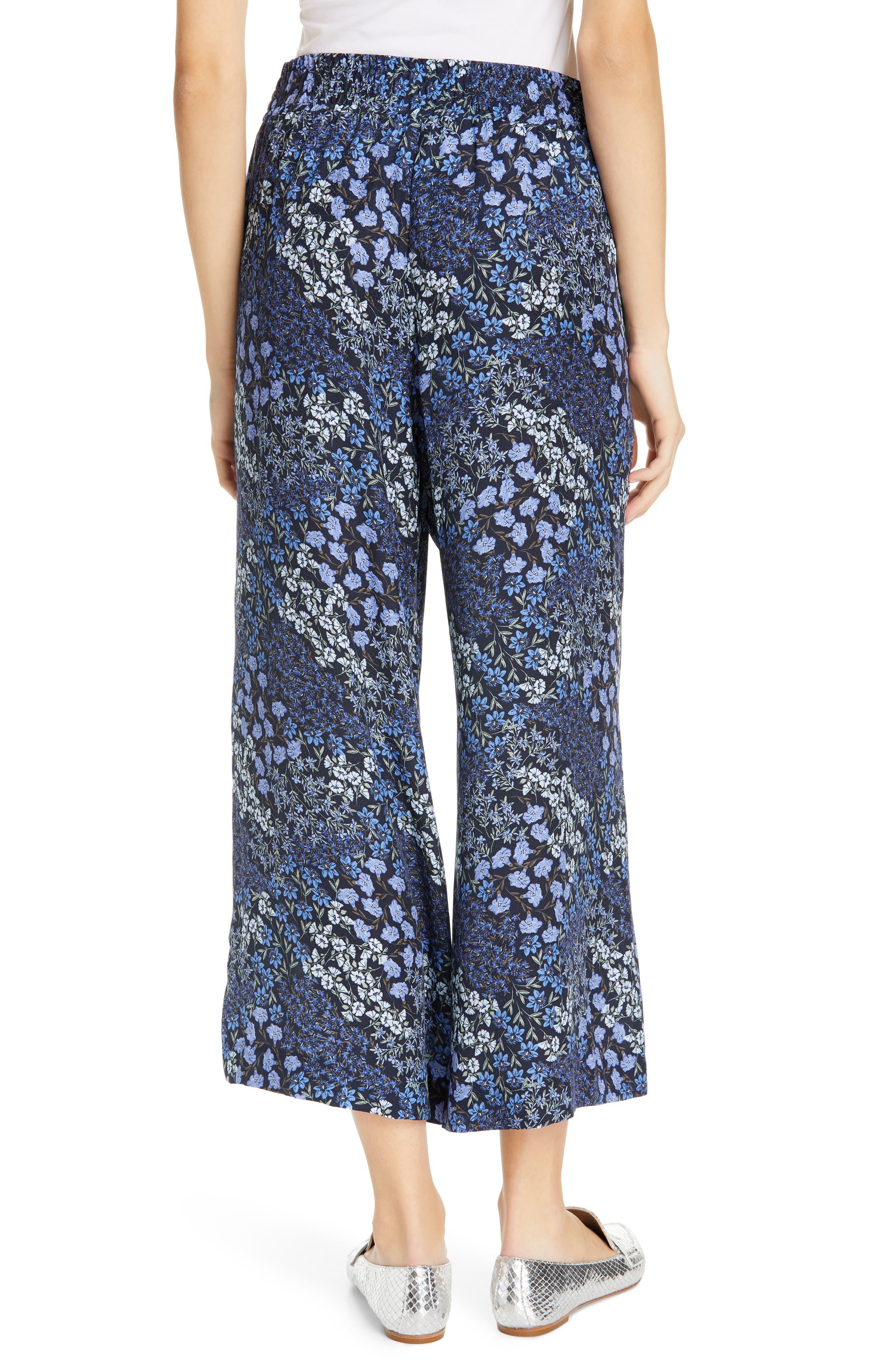 ,                             Floral Wide Leg Crop Silk Pants,                             Alternate thumbnail 2, color,                             NAVY COMBO
