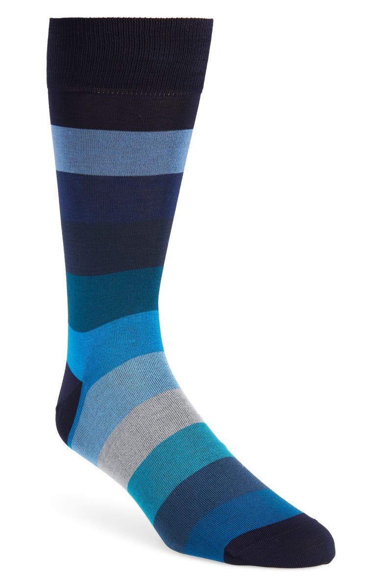 BUGATCHI Stripe Cotton Blend Socks, Main, color, ROYAL