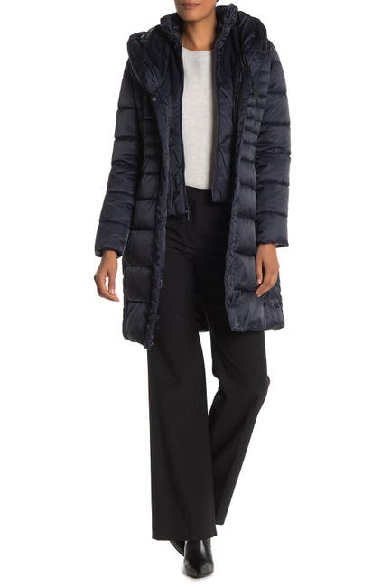 Image of Tahari Casey Faux Fur Trim Hooded Long Puffer Coat