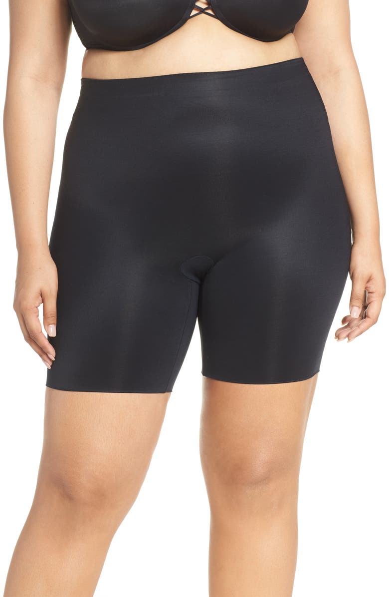 SPANX<SUP>®</SUP> Suit Your Fancy Booty Booster Mid-Thigh Shorts, Main, color, VERY BLACK