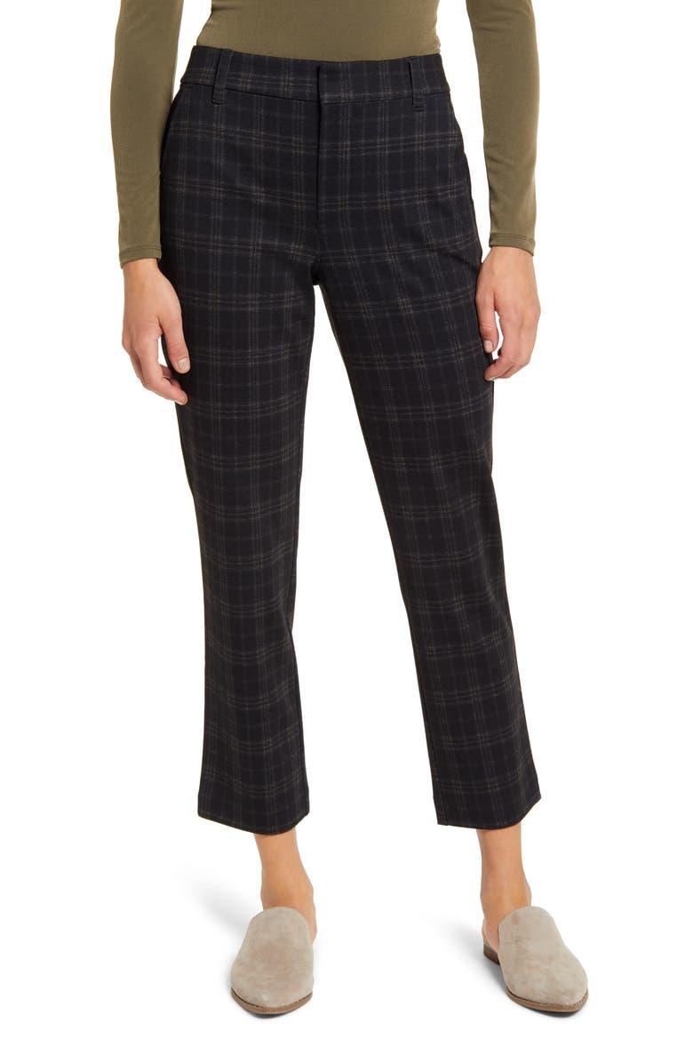 WIT & WISDOM Ab-Solution Plaid Ankle Trousers, Main, color, BLACK TAN