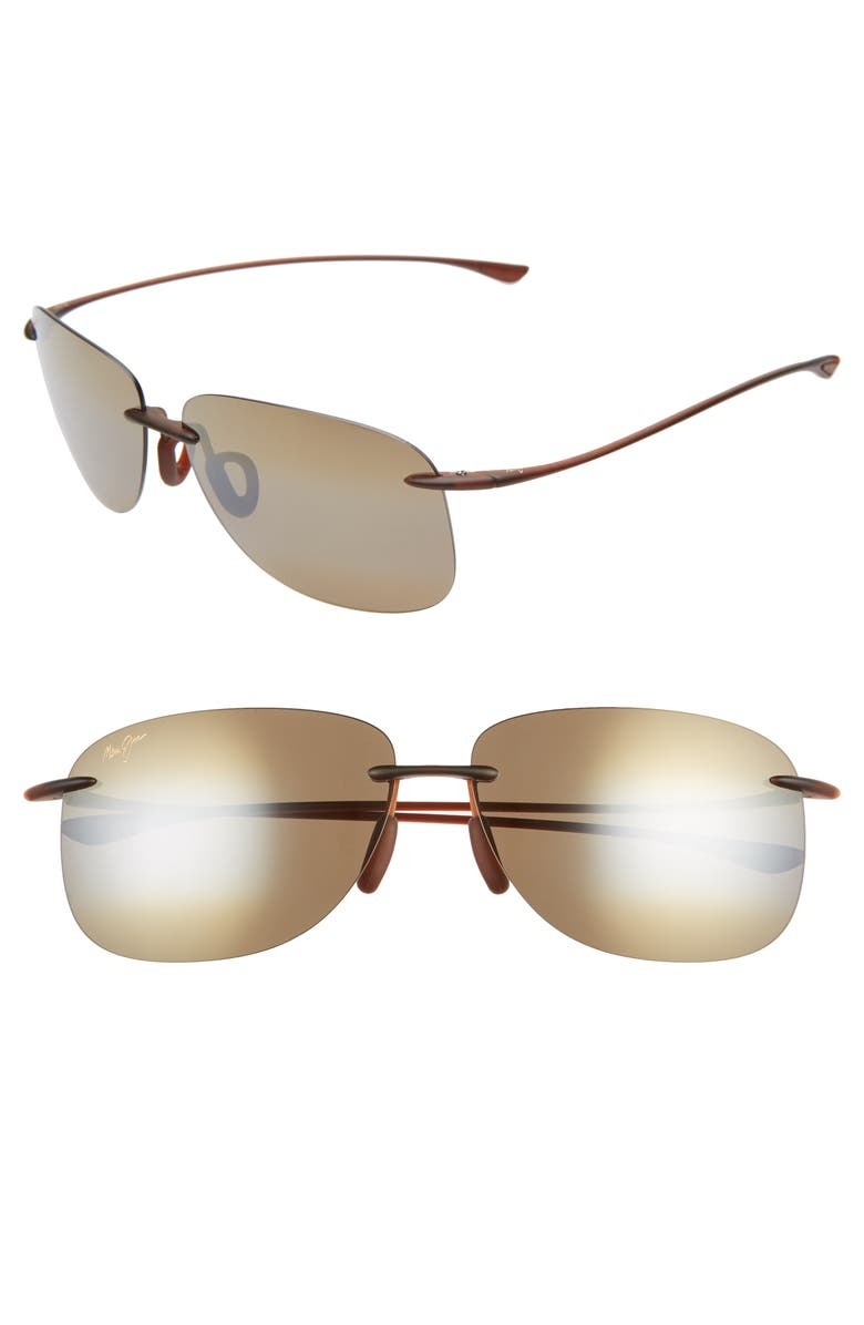 MAUI JIM Hikina 62mm PolarizedPlus2<sup>®</sup> Rimless Sunglasses, Main, color, MATTE ROOTBEER/ BRONZE