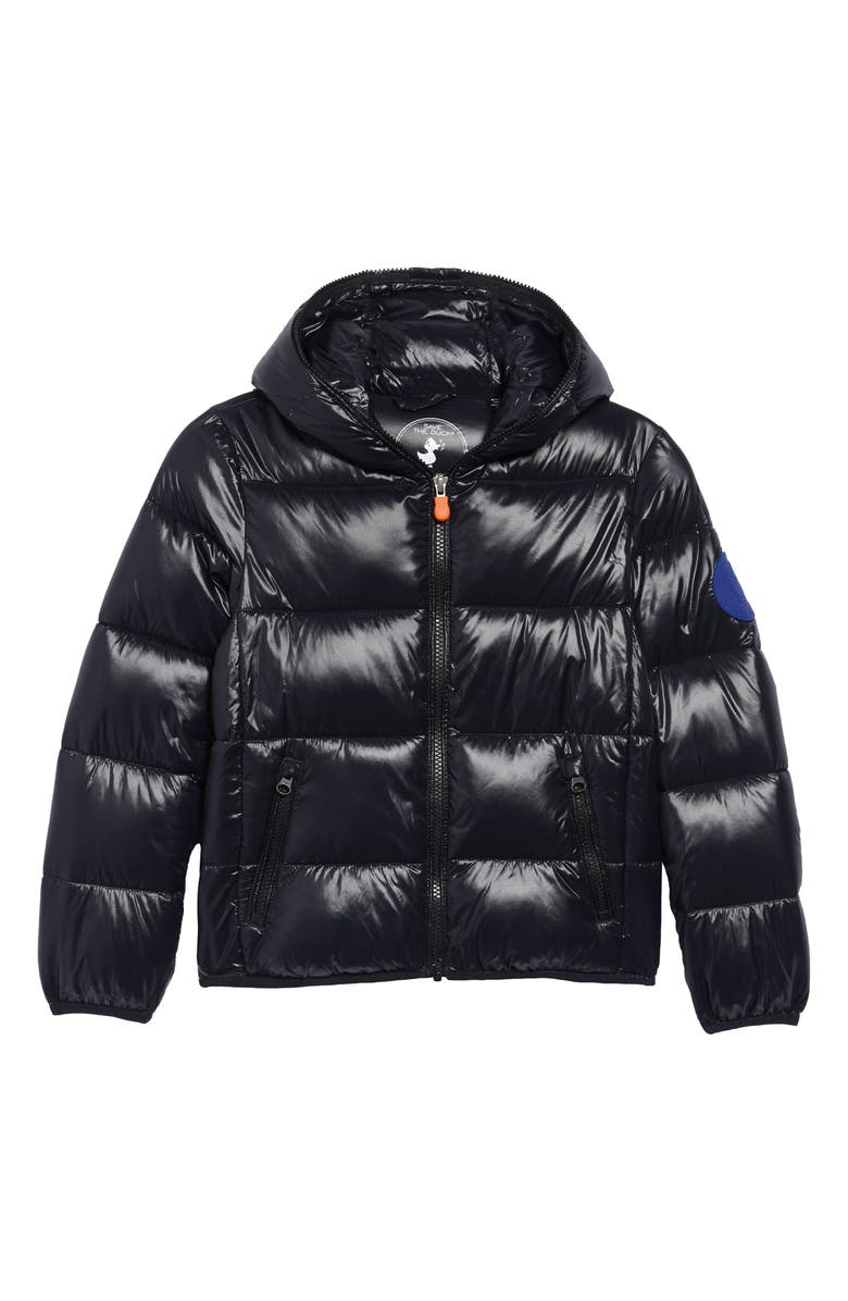 SAVE THE DUCK Quilted Hooded Puffer Jacket, Main, color, 001