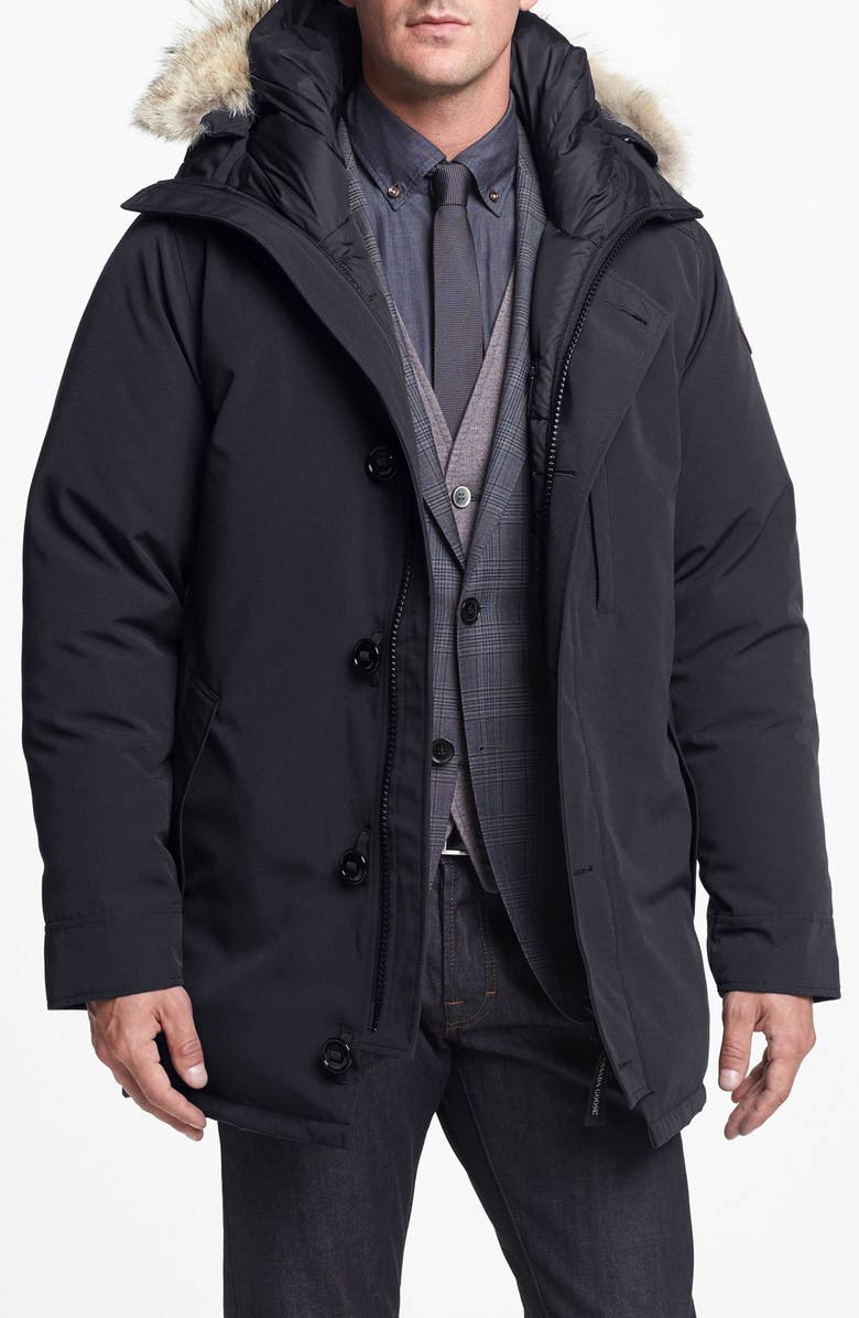 CANADA GOOSE 'Chateau' Slim Fit Genuine Coyote Fur Trim Jacket, Main, color, 021