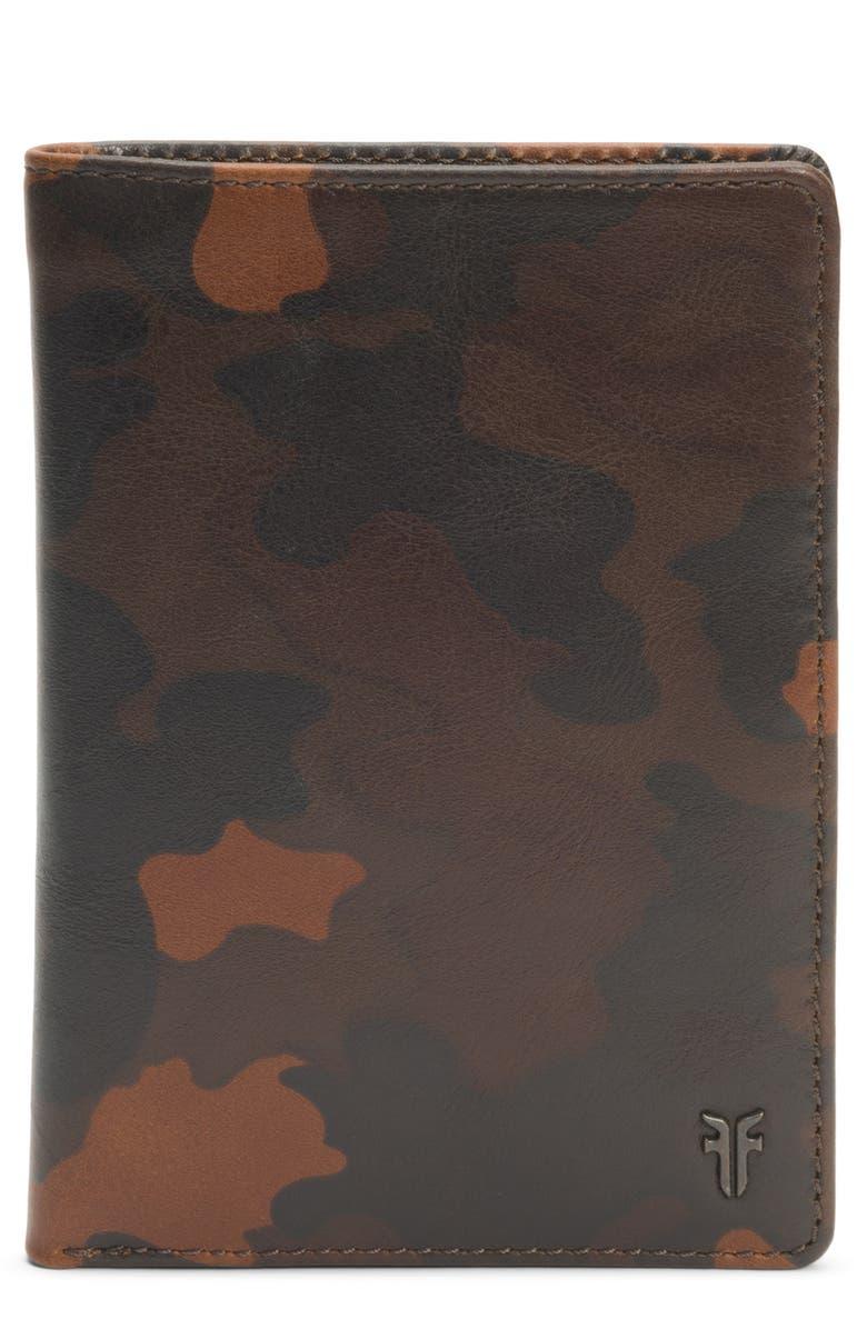FRYE Austin Leather Passport Wallet, Main, color, CAMO