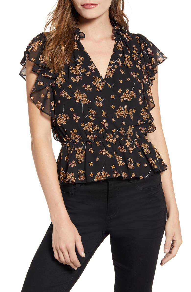 Floral Flounce Sleeve Wrap Front Blouse by 1.State