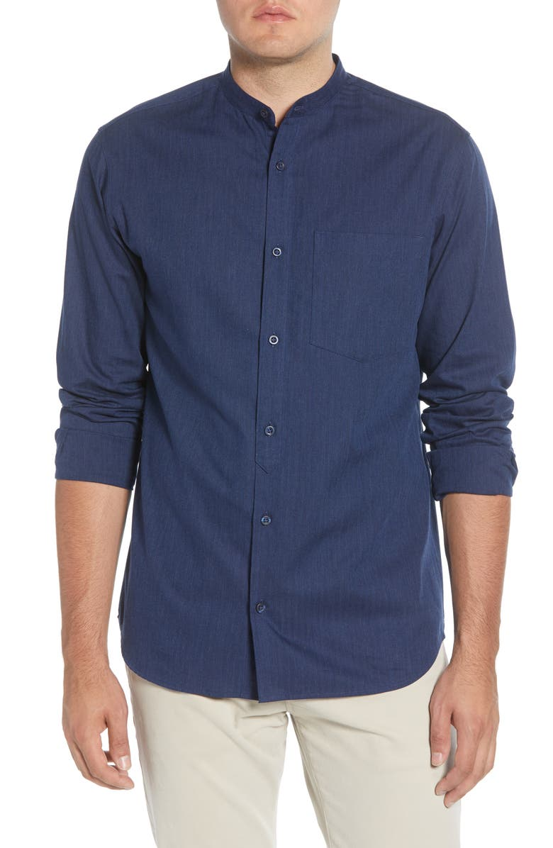 SELECTED HOMME Mart Slim Fit Band Collar Button-Up Shirt, Main, color, DARK BLUE