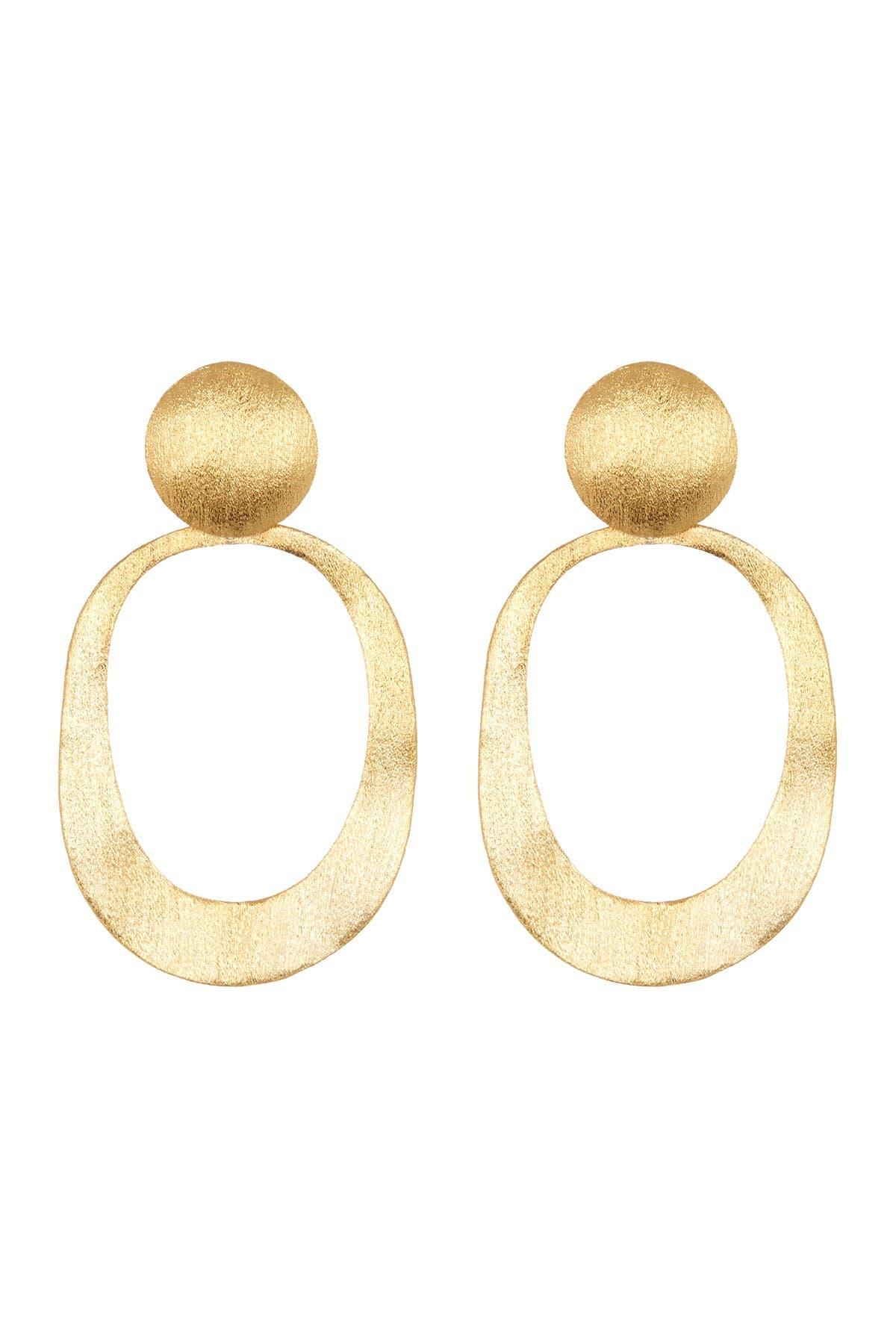 Image of Rivka Friedman 18K Gold Clad Oval Wavy Dangle Earrings