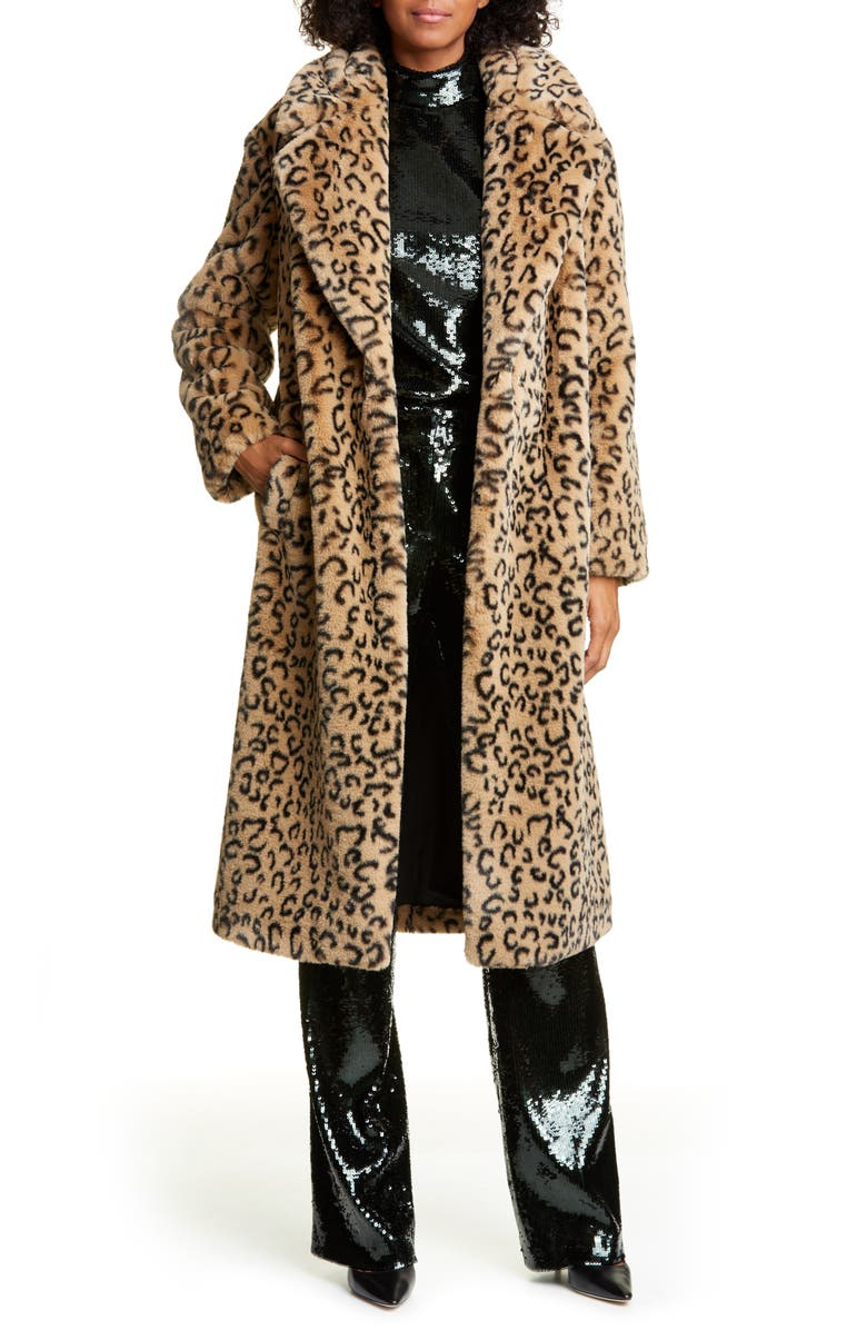 A.L.C. Elkin Faux Fur Coat, Main, color, LIGHT BROWN/ BLACK