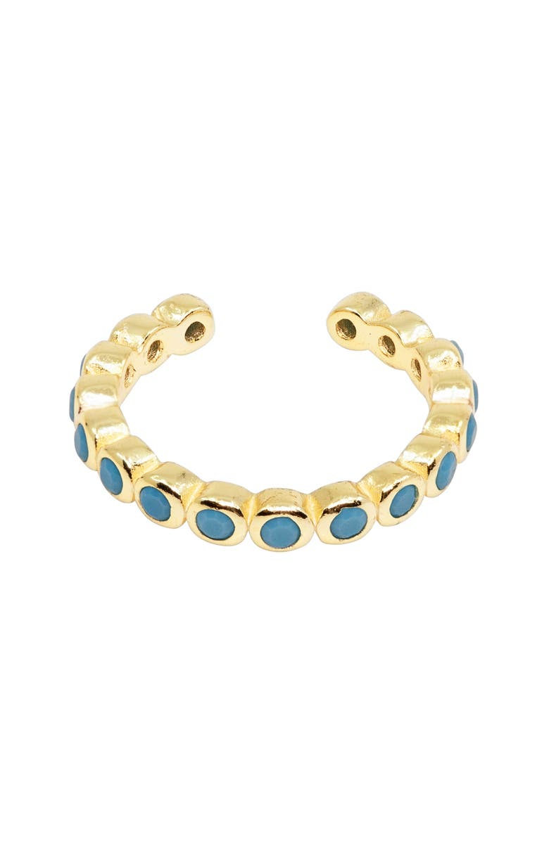 RAGEN JEWELS Turquoise Halo Ear Cuff, Main, color, GOLD