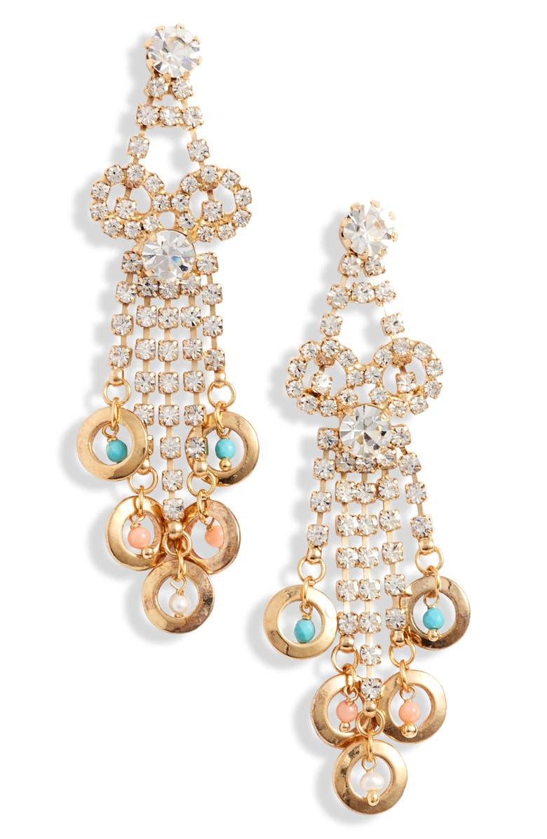 GAS BIJOUX Kelly Drop Earrings, Main, color, MULTI/ GOLD
