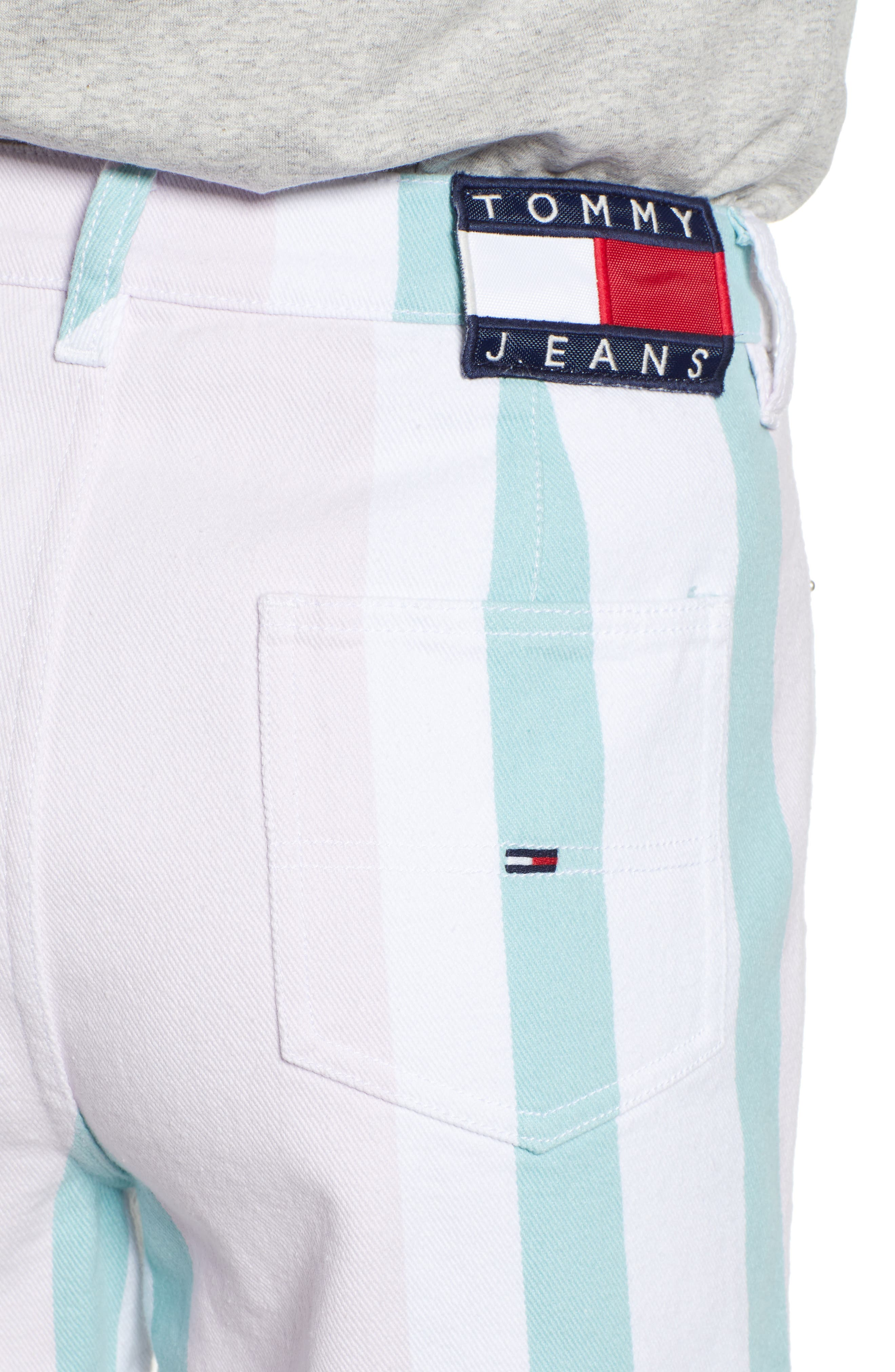 ,                             High Waist Stripe Denim Mom Shorts,                             Alternate thumbnail 5, color,                             BOLD PASTEL STRIPE
