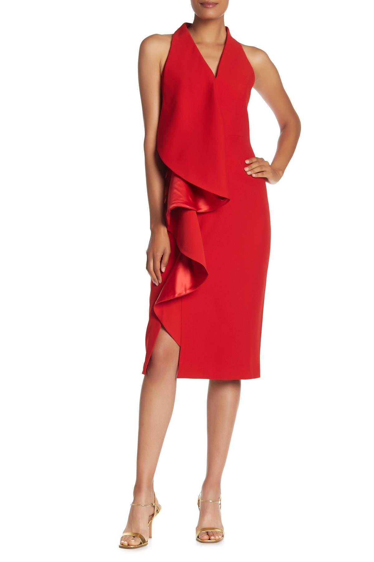 Image of Gracia V-Neck Ruffle Midi Dress