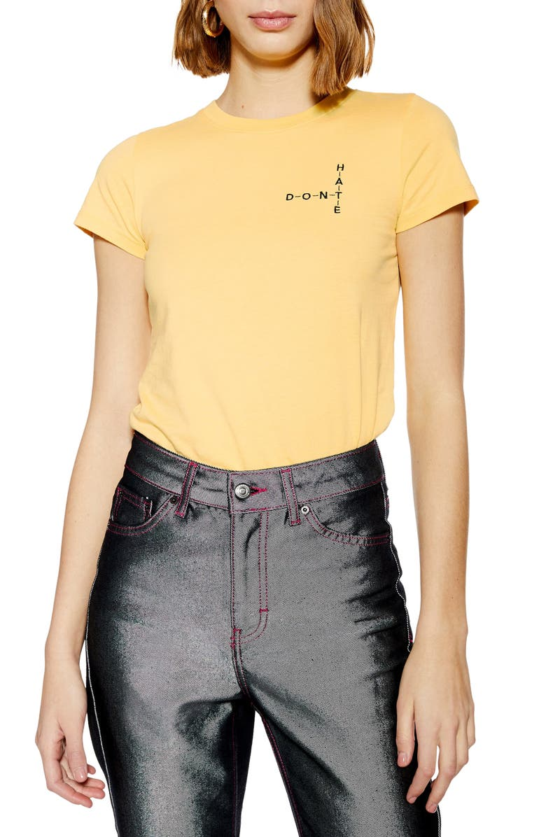 TOPSHOP Don't Hate Crossword Tee, Main, color, YELLOW