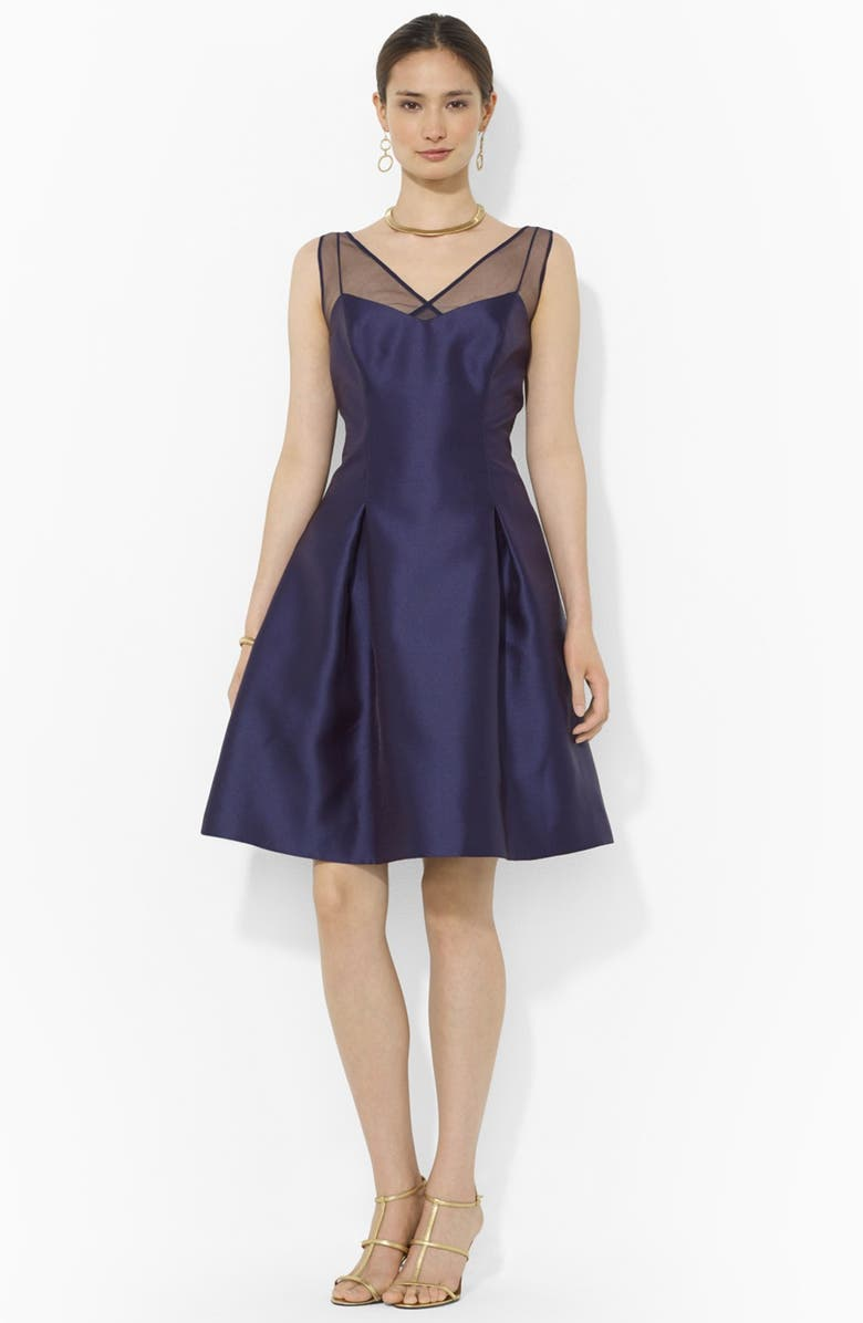 LAUREN RALPH LAUREN Satin Fit & Flare Dress, Main, color, 410