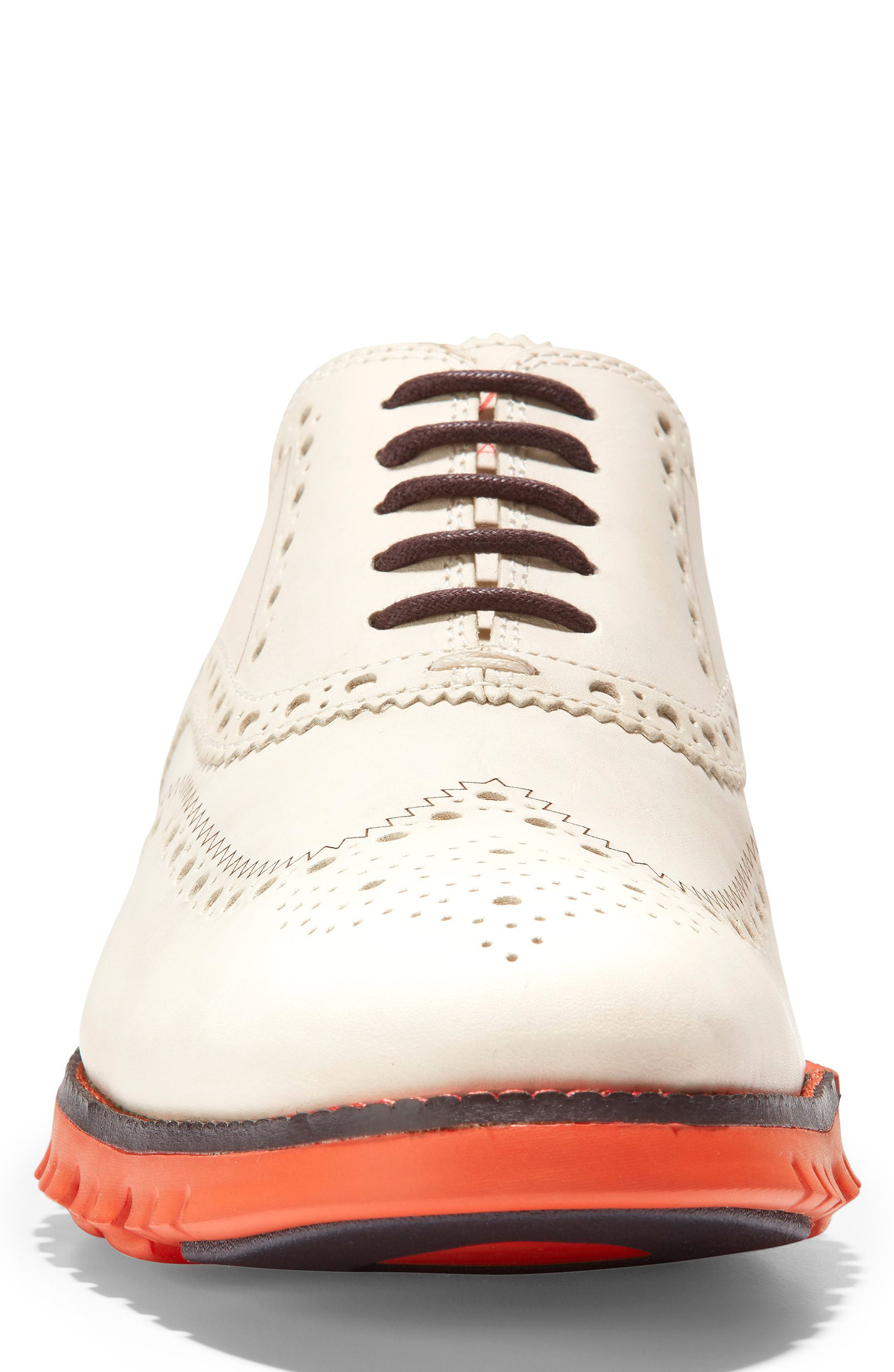 ,                             'ZeroGrand' Wingtip Oxford,                             Alternate thumbnail 4, color,                             IVORY LEATHER/ DARK ROAST
