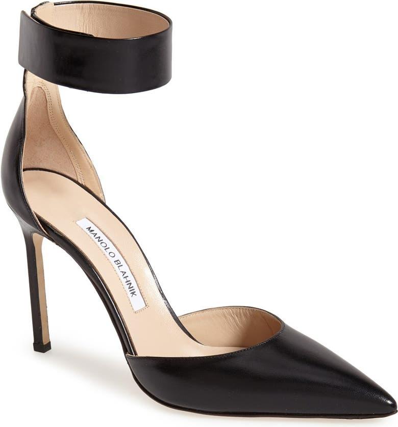 MANOLO BLAHNIK 'Ollico' Ankle Cuff d'Orsay Pump, Main, color, 001